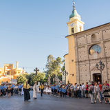 Priests and scouts in the religious procession of Corpus Domini. Chieti, Italy - 18 June 2017: Priests and scouts in the religious procession of Corpus Domini in Royalty Free Stock Photo