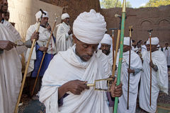 Priests taking prayer, Lalibela Royalty Free Stock Image