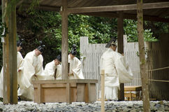 Priests at Toyoukedaijingu Royalty Free Stock Photography