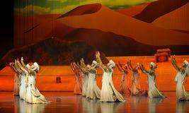 Priez-Hui la lune de ballet de guerrier-Hui au-dessus de Helan Photos libres de droits