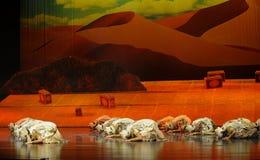 Priez-Hui la lune de ballet de guerrier-Hui au-dessus de Helan Images libres de droits