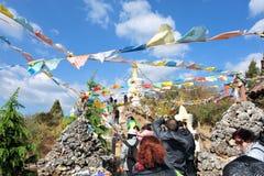 Priez la décoration en bois, village de minorité ethnique Photo libre de droits