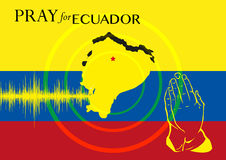 Priez pour l'Equateur Opération ou soutien de soulagement d'affiche de concept de victimes de tremblement de terre Photographie stock