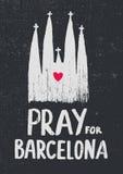 Priez pour l'illustration de vecteur de Barcelone Église avec le coeur à l'intérieur Images libres de droits