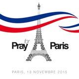 Priez pour la typographie de Paris avec le vecteur créatif de conception Illustration Stock