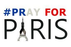Priez pour le concept de Paris Photos stock