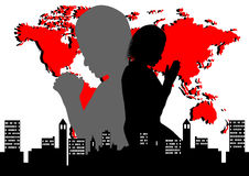 Priez pour le monde illustration libre de droits