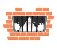 Prigione di Santa Claus in abito a strisce Finestra in prigione con le barre Fotografia Stock