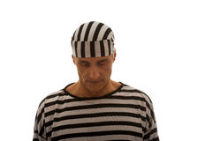 Prigioniero caucasico dell'uomo in vestiti a strisce Fotografia Stock Libera da Diritti