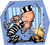 Prigioniero che rompe le rocce immagini stock