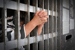 Prigioniero dietro le barre Fotografia Stock
