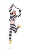 Prigioniero in uniforme a strisce Fotografie Stock Libere da Diritti