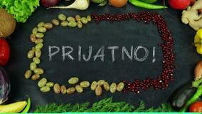Prijatno Bośniacki owocowy zatrzymuje ruch, w Angielskim bonu apetycie obrazy royalty free