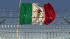 Prikkeldraad tegen golvende vlag van Mexico Loopable 3D animatie stock videobeelden