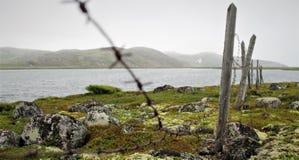 Prikkeldraadomheining op de kust stock afbeelding