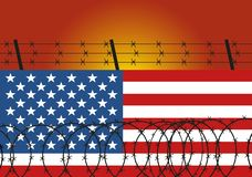Prikkeldraadstaal op muur van de Amerikaanse vlag wordt gemaakt die Immigratie van de illustratie van Mexico De illustratie van h stock illustratie