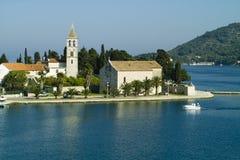 Prilovo, Vis island - Croatia. Prilovo peninsula vith church, Vis island - Croatia royalty free stock photos