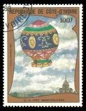 Prima ascesa in un pallone, Montgolfiere 1783 immagine stock