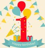 Prima carta felice di anniversario di compleanno Illustrazione di Stock