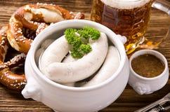 Prima colazione bavarese con la salsiccia bianca Fotografia Stock Libera da Diritti