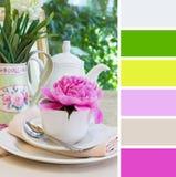 Prima colazione, campioni della tavolozza di colore. Immagine Stock