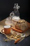 Prima colazione con i biscotti dell'arachide e del latte Immagini Stock