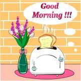 Prima colazione con il buongiorno caldo dei pani tostati Immagine Stock Libera da Diritti