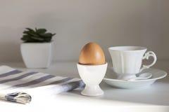 Prima colazione con l'uovo ed il caffè Fotografia Stock Libera da Diritti