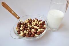 Prima colazione con latte Immagini Stock Libere da Diritti
