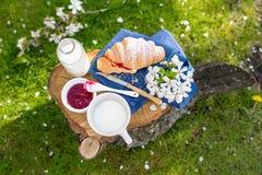 Prima colazione con latte ed il croissant Fotografie Stock