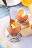 Prima colazione con le uova soft-boiled Fotografia Stock