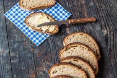Prima colazione con pane affettato Fotografia Stock Libera da Diritti