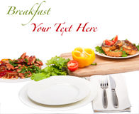 Prima colazione con testo Immagini Stock Libere da Diritti