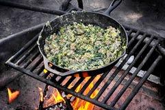 Prima colazione del fuoco di accampamento Immagine Stock