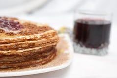 Prima colazione del pancake Fotografie Stock Libere da Diritti