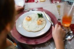 Prima colazione delle uova fritte Fotografia Stock
