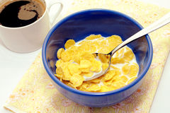 Prima colazione di cereale e di caffè Fotografie Stock
