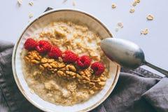 Prima colazione di mattina, farina d'avena in latte con le bacche Immagine Stock