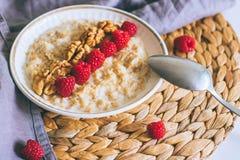 Prima colazione di mattina, farina d'avena in latte con le bacche Immagini Stock