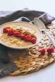 Prima colazione di mattina, farina d'avena in latte con le bacche Fotografia Stock Libera da Diritti