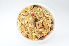 Prima colazione di Muesli in una ciotola o in una tazza Fotografie Stock