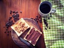 Prima colazione di natura morta messa con retro effetto del filtro Fotografie Stock Libere da Diritti