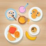 Prima colazione dolce su fondo di legno Vista superiore illustrazione vettoriale