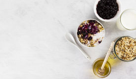 Prima colazione: granola, yogurt, miele, mirtillo su un backgrou bianco Fotografia Stock