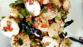 Prima colazione indiana del sud dell'alimento di Fried Idli immagini stock libere da diritti