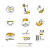 Prima colazione - insieme delle icone di vettore nello stile piano lineare relativo al pasto di mattina Fotografia Stock Libera da Diritti