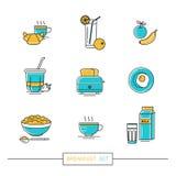 Prima colazione - insieme delle icone di vettore nello stile piano lineare relativo al pasto di mattina illustrazione di stock
