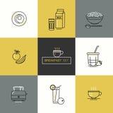 Prima colazione - insieme delle icone di vettore nello stile piano lineare relativo al pasto di mattina royalty illustrazione gratis