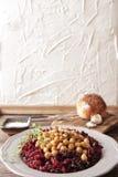 Prima colazione leggera delle barbabietole e dei ceci Fotografie Stock Libere da Diritti