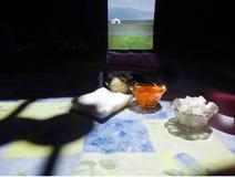 Prima colazione nel Kirghizistan immagini stock